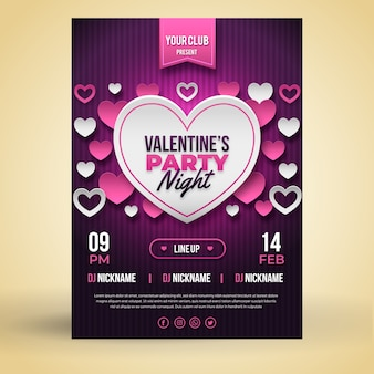 Sjabloon valentijnsdag platte partij flyer