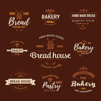 Sjabloon van bakkerijlogo en badges voor vers gebakken goederen