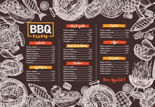 Sjabloon van bbq, grill, barbecue en vleesmenu, schets hand getrokken illustratie