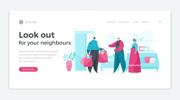 Sjabloon van de website die zegt om op uw buren te letten