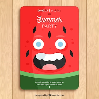 Sjabloon van de zomerfeestje met vrolijk watermeloenkarakter