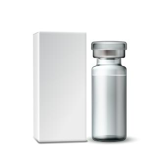Sjabloon van doorzichtig glazen medische flacon met aluminium dop
