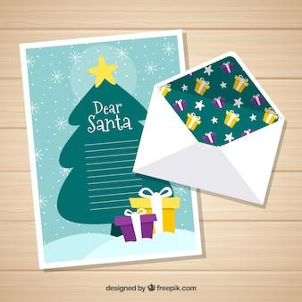 Sjabloon van een brief aan de kerstman met een kerstboom