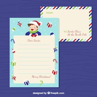 Sjabloon van een brief aan de kerstman van een jongen