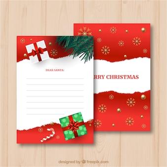 Sjabloon van een brief aan santa in rood en wit