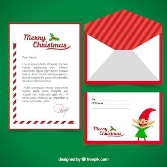 Sjabloon van een brief met een kerstelf