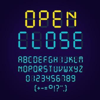 Sjabloon van gloeiend realistisch digitaal alfabet