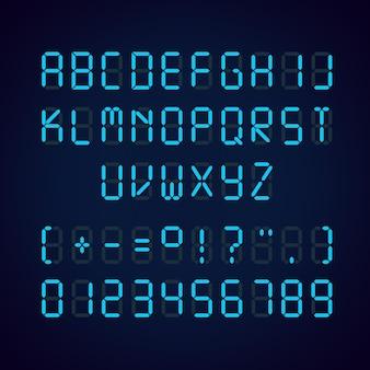 Sjabloon van gloeiende realistische digitale blauwe alfabet en cijfers wekker letters