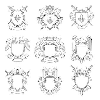Sjabloon van heraldische emblemen voor verschillende ontwerpproject