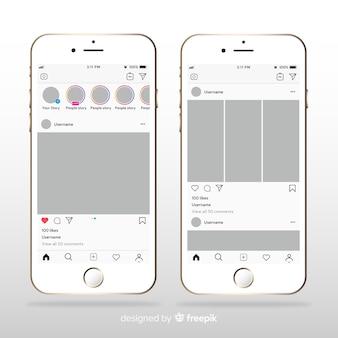 Sjabloon van instagram fotolijst op de iphone
