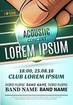Sjabloon van moderne poster voor een akoestisch concert of een rockfestival