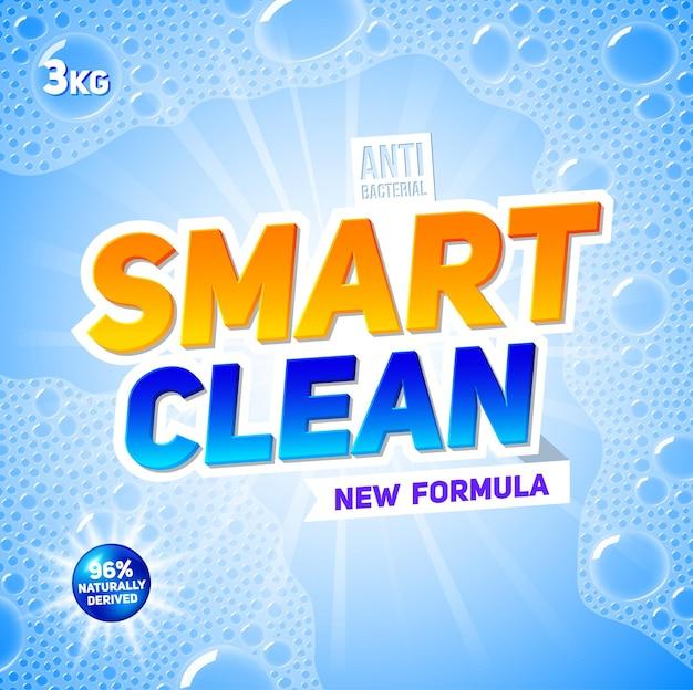 Sjabloon van wasmiddel voor pakketontwerp voor waspoeder en vloeibare wasmiddelen