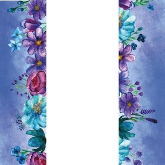 Sjabloon van wenskaart met blauwe bloem aquarel