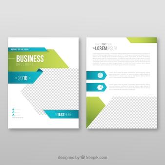 Sjabloon van zakelijke folder met blauwe en groene vormen