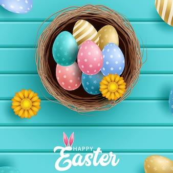 Sjabloon vector kaart met realistische eieren en bloemen
