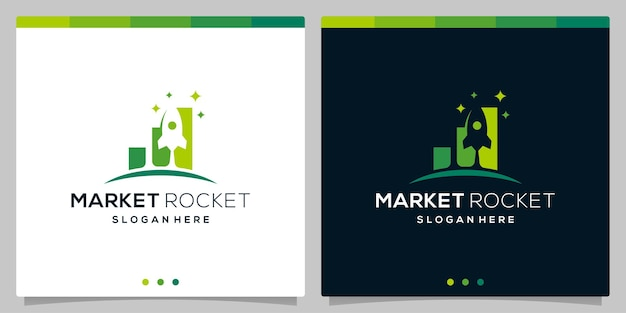 Sjabloon vector pictogram logo roket dan logo investasi keuangan. vectorpremie
