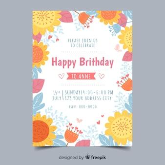 Sjabloon verjaardagsuitnodiging bloemen