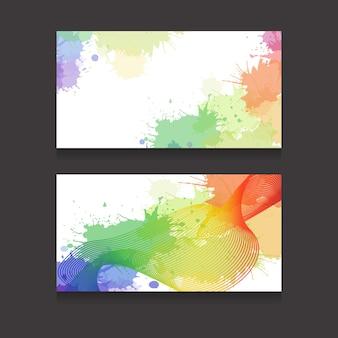 Sjabloon visitekaartjes met kleurrijke aquarel spatten en metamorfosen lijn