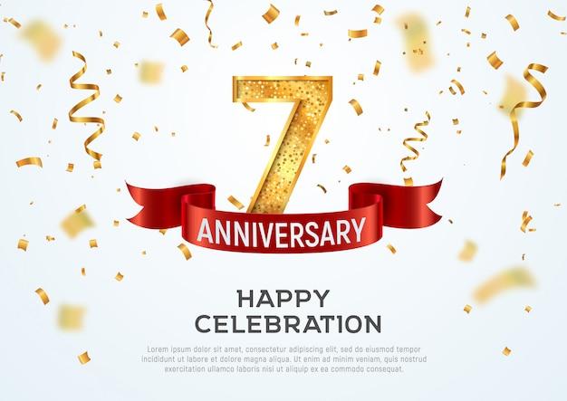 Sjabloon voor 7 jaar verjaardag vector spandoek. zevenjarig jubileum met rood lint en confettien op witte achtergrond