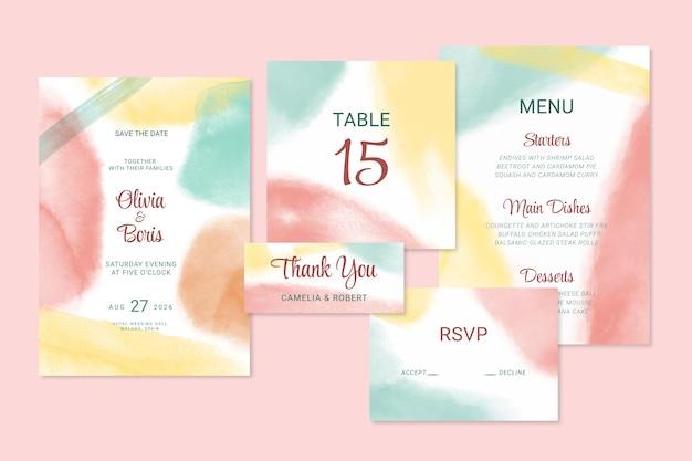 Sjabloon voor abstract aquarel bruiloft briefpapier