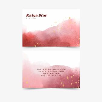 Sjabloon voor abstract aquarel horizontaal visitekaartje