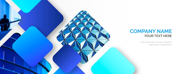 Sjabloon voor abstract bedrijfsbanner met blauwe vormen