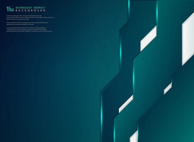 Sjabloon voor abstract blue green gradient-technologie met stippen achtergrond.