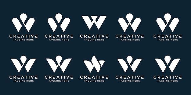 Sjabloon voor abstract collectie initialen w logo. Premium Vector