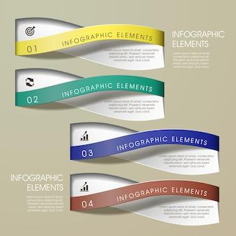 Sjabloon voor abstract gebogen golven tape infographic elementen