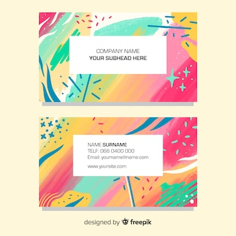Sjabloon voor abstract geschilderde visitekaartjes