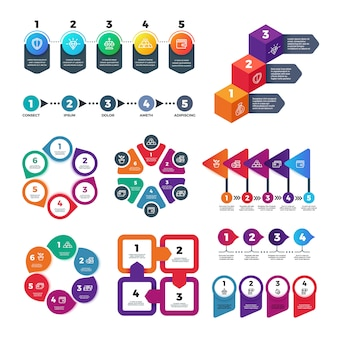 Sjabloon voor abstract infographics aantal opties. infografiek, workflow marketingdiagram met stappen vector set