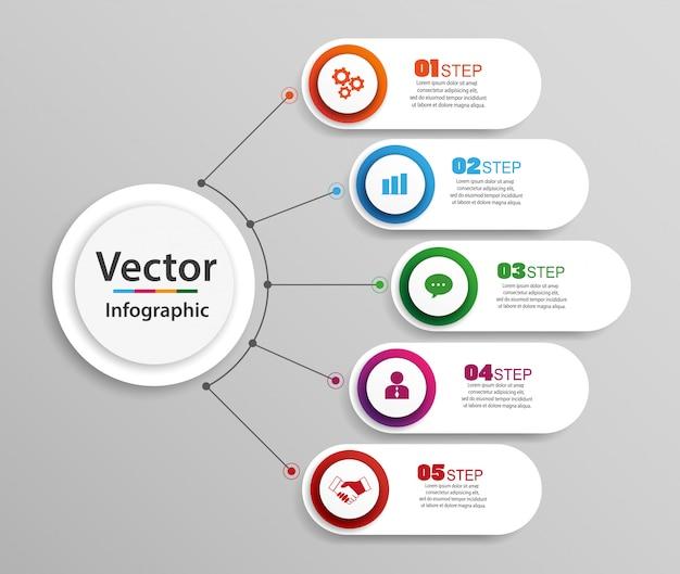 Sjabloon voor abstract infographics aantal opties met stappen