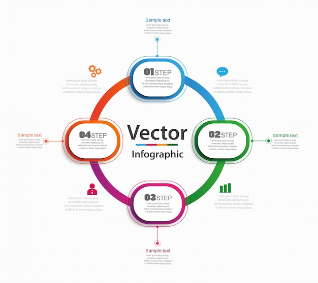 Sjabloon voor abstract infographics aantalopties met 4 stappen