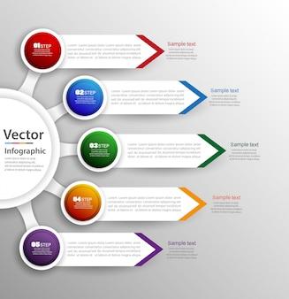 Sjabloon voor abstract infographics aantalopties met 5 stappen