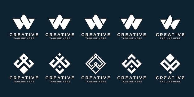 Sjabloon voor abstract initialen w logo. Premium Vector