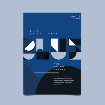 Sjabloon voor abstract klassiek blauw poster