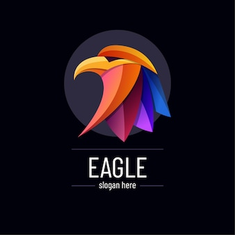 Sjabloon voor abstract kleurrijk verloop eagle logo