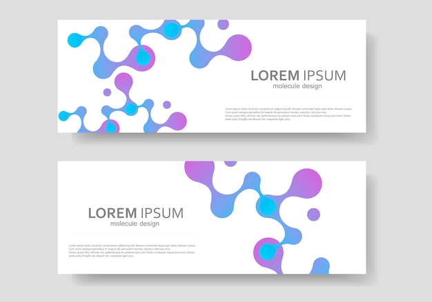 Sjabloon voor abstract moleculen ontwerp spandoek
