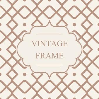 Sjabloon voor abstract monochroom vintage frame op geometrische naadloze patroon met kruisende ruiten in caleidoscoopstijl