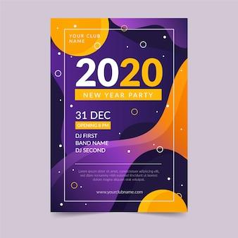 Sjabloon voor abstract nieuw jaar 2020-feestflyer