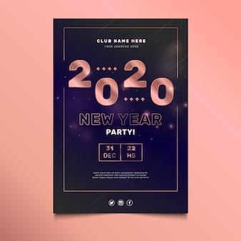 Sjabloon voor abstract nieuwjaar 2020-feestaffiche