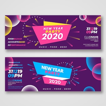 Sjabloon voor abstract nieuwjaar 2020-feestbanners
