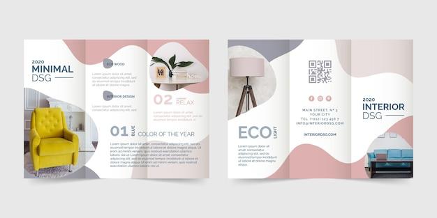 Sjabloon voor abstract ontwerp driebladige brochure