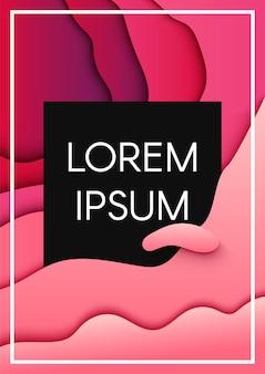 Sjabloon voor abstract papier gesneden met tekst frame roze spandoek. origami achtergrond met zwarte copyspace