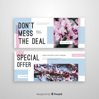 Sjabloon voor abstract verkoop banners met foto