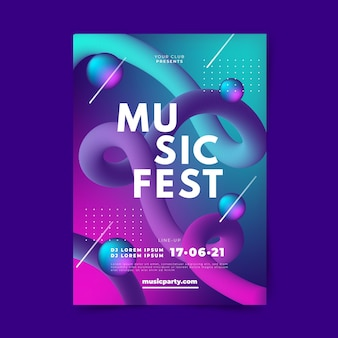 Sjabloon voor abstract verloop muziek poster