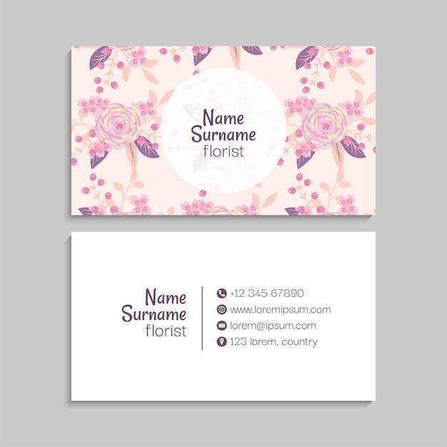 Sjabloon voor abstract visitekaartjes met bloemen
