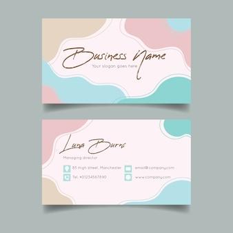 Sjabloon voor abstract visitekaartjes met pastel gekleurde vlekken