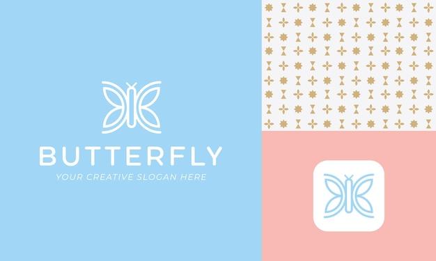 Sjabloon voor abstract vlinderlogo in pastelkleuren