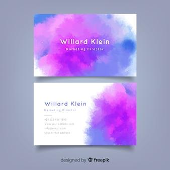 Sjabloon voor abstract waterverf-visitekaartjes